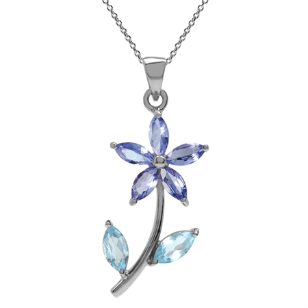 Genuine Tanzanite & Blue Topaz 925 Sterling Silver Flower Leaf Pendant w/ 18 Inch Chain Necklace