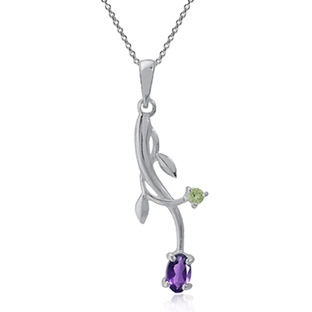 Natural African Amethyst & Peridot 925 Sterling Silver Vine Leaf Pendant w/ 18 Inch Chain Necklace