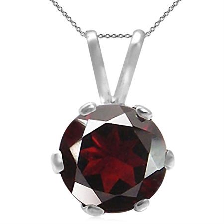 1ct. Natural Garnet 925 Sterling Silver Solitaire Pendant w/ 18 Inch Chain Necklace