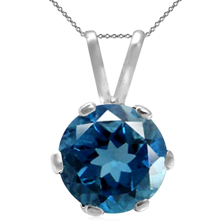 "Genuine London Blue Topaz 925 Sterling Silver Solitaire Pendant w/ 18"" Chain Necklace"