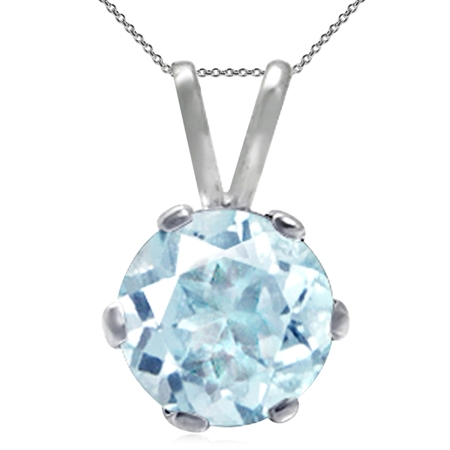 Genuine Blue Topaz 925 Sterling Silver Solitaire Pendant w/ 18 Inch Chain Necklace