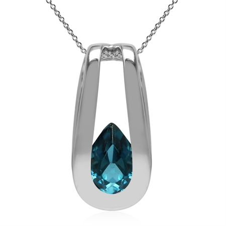 Genuine London Blue Topaz 925 Sterling Silver Solitaire Pendant w/18 Inch Chain Necklace