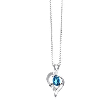 "Genuine London Blue Topaz 925 Sterling Silver Modern Heart Pendant w/ 18"" Chain Necklace"