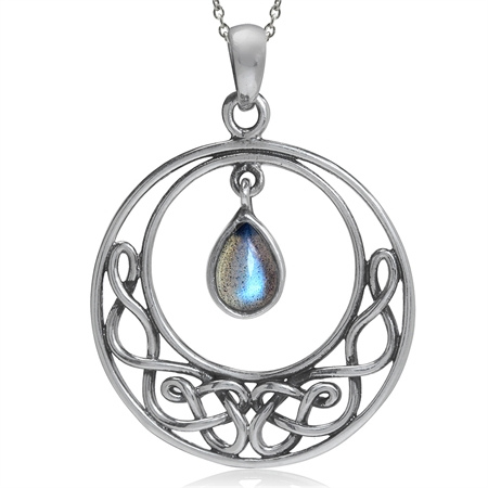 Natural Labradorite 925 Sterling Silver Celtic Knot Drop Dangle Pendant w/ 18 Inch Chain Necklace