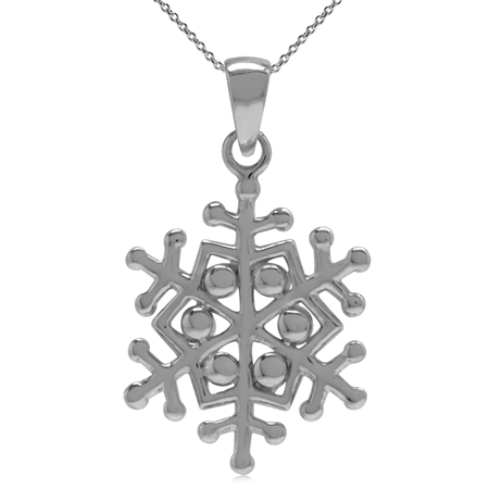 16MMx14MM 925 Sterling Silver Snowflake Pendant w/ 18 Inch Chain Necklace