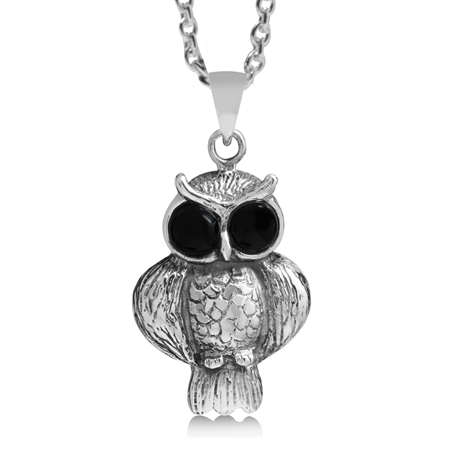 Created Black Onyx 925 Sterling Silver WISE OWL Pendant w/ 18 Inch Chain Necklace