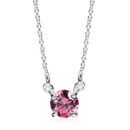 6MM Pink Swarovski Zirconia 925 Sterling Silver Pendant w/16 Inch Chain Necklace