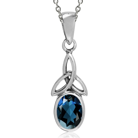 "Genuine London Blue Topaz 925 Sterling Silver Triquetra Celtic Knot Pendant w/ 18"" Chain Necklace"