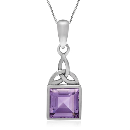 1.54ct. Natural Amethyst 925 Sterling Silver Triquetra Celtic Knot Pendant w/ 18 Inch Chain Necklace