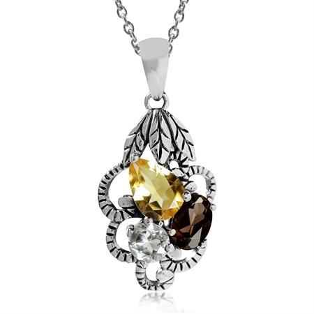 Natural Citrine, Smoky Quartz & Topaz 925 Sterling Silver Vintage Pendant w/ 18 Inch Chain Necklace
