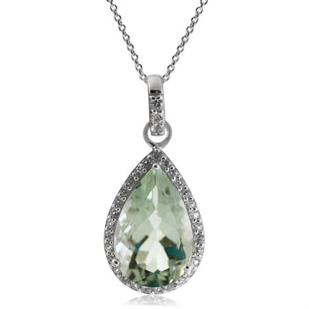 "4.31ct. 14x9MM Natural Green Amethyst & Topaz 925 Sterling Silver Drop Pendant w/ 18"" Chain Necklace"