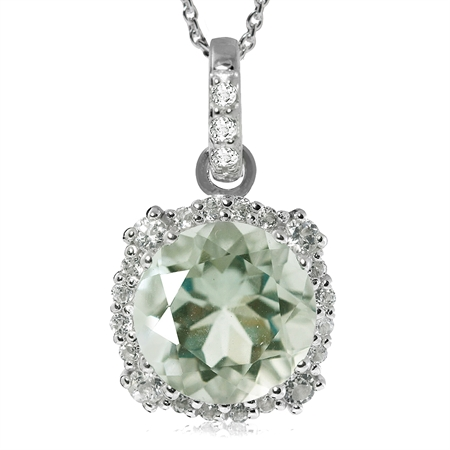 "3.75ct. 10MM Natural Green Amethyst & White Topaz 925 Sterling Silver Pendant w/ 18"" Chain Necklace"