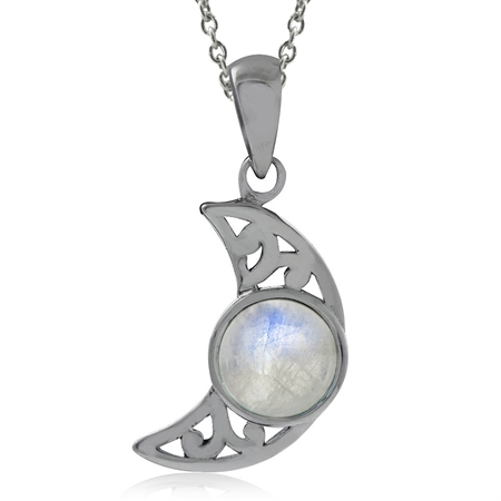 Natural Moonstone 925 Sterling Silver Filigree Crescent Moon Pendant w/ 18 Inch Chain Necklace