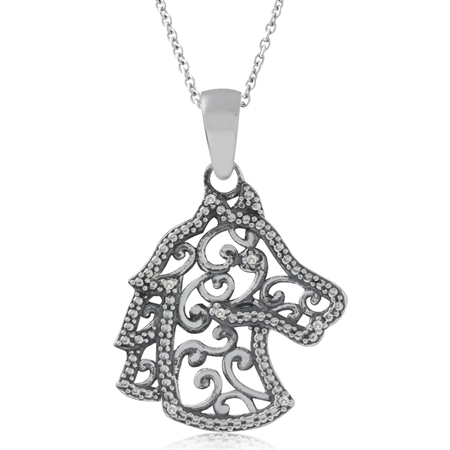 Natural White Diamond 925 Sterling Silver Filigree Horse Pendant w/ 18 Inch Chain Necklace