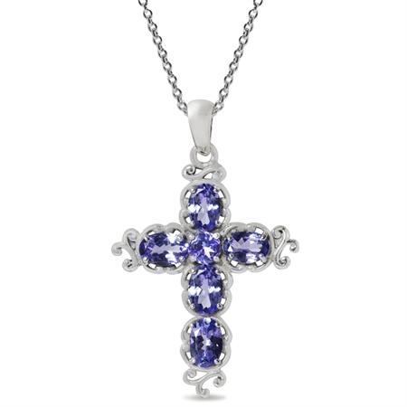 2.5ct. Genuine Tanzanite 925 Sterling Silver Victorian Cross Pendant w/ 18 Inch Chain Necklace