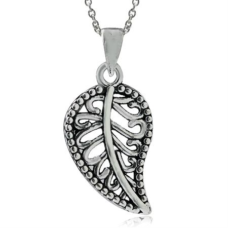 925 Sterling Silver Filigree LEAF Pendant w/ 18 Inch Chain