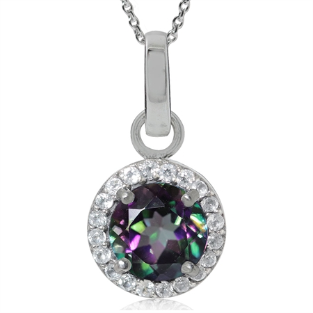 1.63ct. Mystic Fire Topaz 925 Sterling Silver Classic Pendant w/ 18 Inch Chain Necklace