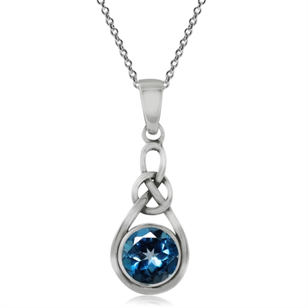 1.08ct. Genuine London Blue Topaz 925 Sterling Silver Celtic Knot Pendant w/ 18 Inch Chain Necklace