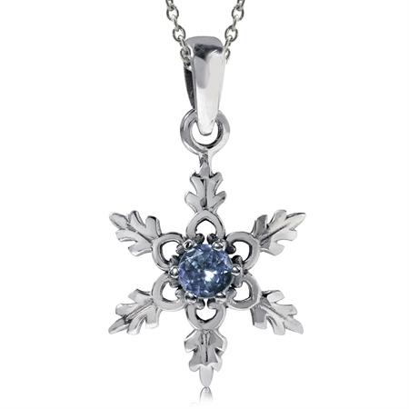 Genuine Tanzanite 925 Sterling Silver Snowflake Pendant w/ 18 Inch Chain Necklace
