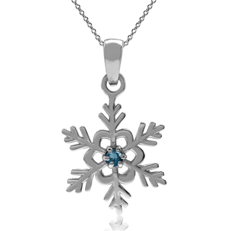 Genuine London Blue Topaz 925 Sterling Silver Snowflake Pendant w/ 18 Inch Chain Necklace