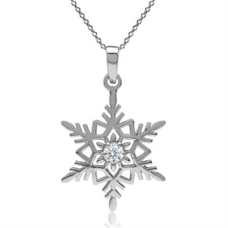 White CZ 925 Sterling Silver Snowflake Pendant w/ 18 Inch Chain Necklace