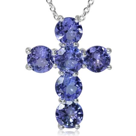 2.94ct. Genuine Tanzanite 925 Sterling Silver Cross Pendant w/ 18 Inch Chain Necklace