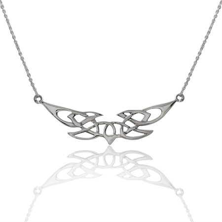 925 Sterling Silver Celtic Knot Pendant w/ 17 Inch Chain Necklace
