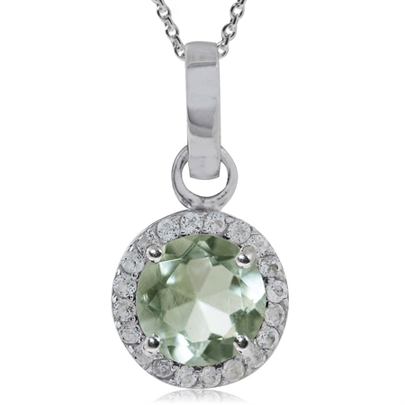 1.13ct. Natural Green Amethyst & Topaz 925 Sterling Silver Classic Pendant w/ 18 Inch Chain Necklace