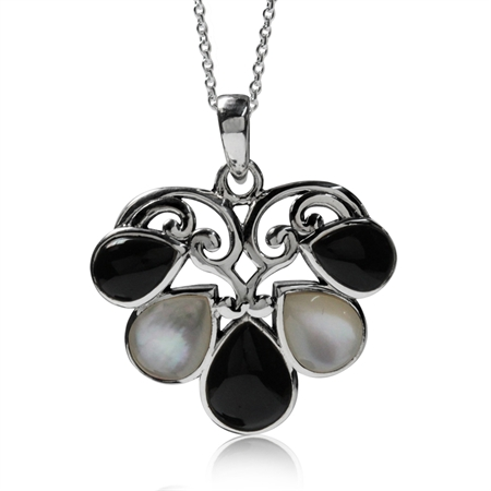 "Mother of Pearl&Created Onyx 925 Sterling Silver Heart Victorian Style Pendant w/18"" Chain Necklace"
