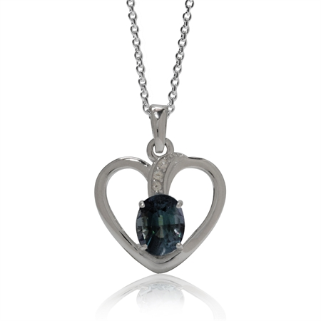 2.91ct. Color Change Alexandrite Doublet GP 925 Sterling Silver Heart Pendant w/ 18 Inch Chain