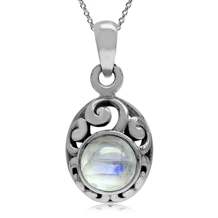 Petite Natural Moonstone 925 Sterling Silver Filigree Pendant w/ 18 Inch Chain Necklace