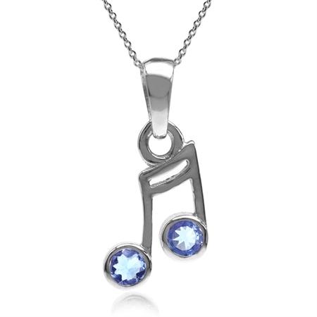 Genuine Tanzanite 925 Sterling Silver Musical Note Pendant w/ 18 Inch Chain Necklace