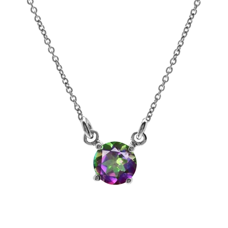 Mystic Fire Topaz White Gold Plated 925 Sterling Silver Pendant w/16-18 Inch Adj. Chain Necklace