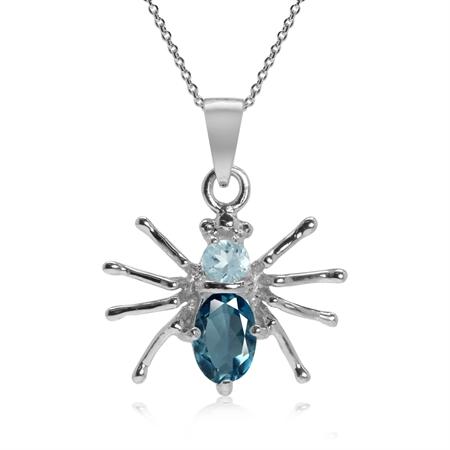 Petite Genuine London Blue Topaz 925 Sterling Silver Spider Pendant w/ 18 Inch Chain Necklace