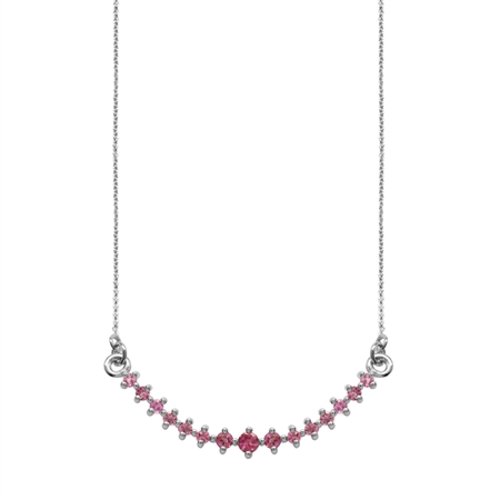Horizontal Curved Pink Tourmaline 925 Sterling Silver Pendant w/ 18-19.5 Inch Adj. Chain Necklace