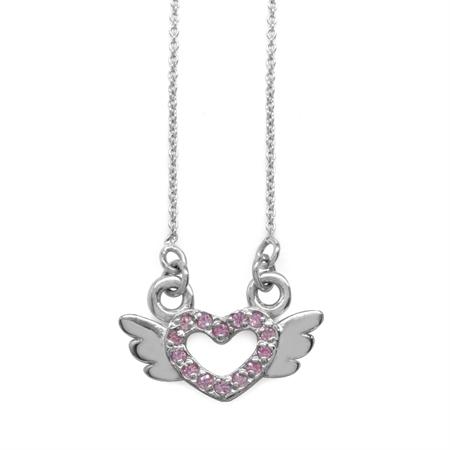 Pink CZ 925 Sterling Silver Angel Heart Teens/Girls Pendant w/ 15-16.5 Inch Adj. Chain Necklace