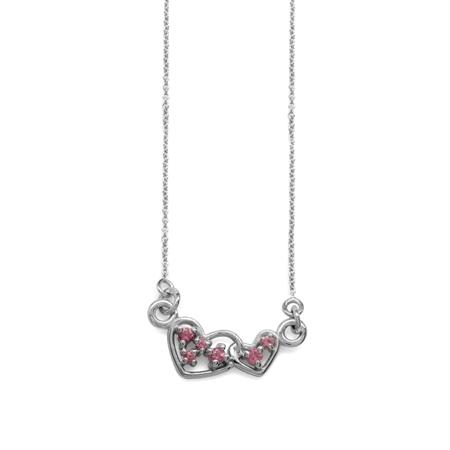 "Natural Pink Tourmaline 925 Sterling Silver Interlock Heart Pendant w/ 15-16.5"" Adj. Chain Necklace"
