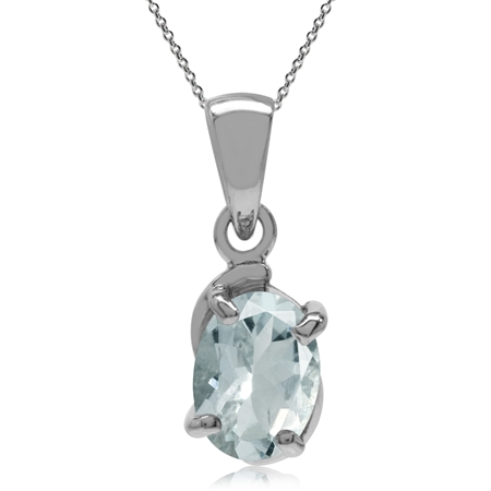 Genuine OV 8x6 Aquamarine 925 Sterling Silver Solitaire Pendant w/ 18 Inch Chain Necklace
