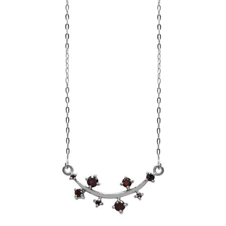 1.37ct. Garnet 925 Sterling Silver Vine Inspired Pendant w/ 15-16.5 Inch Adj. Chain Necklace