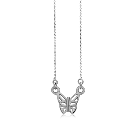 Petite White Gold Plated 925 Sterling Silver Butterfly Pendant w/ 15-16.5 Inch Adj. Chain Necklace