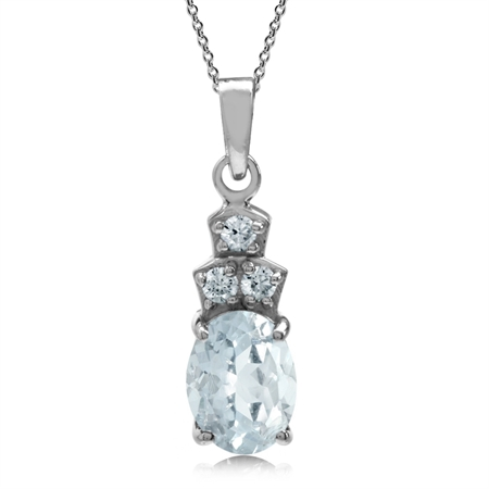 1.08ct. Genuine Blue Aquamarine 925 Sterling Silver Classic Pendant w/18 Inch Chain Necklace