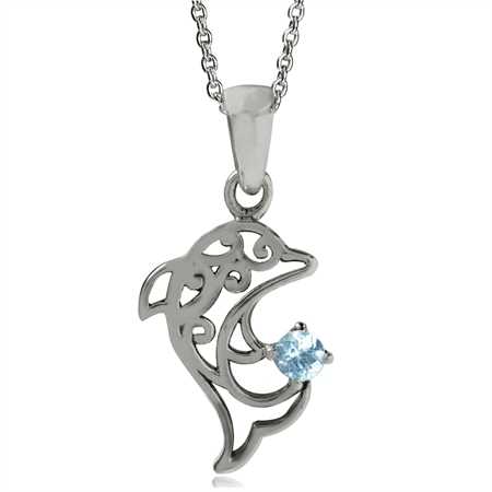 Genuine Blue Topaz 925 Sterling Silver Dolphin Filigree Solitaire Pendant w/ 17 Inch Chain Necklace