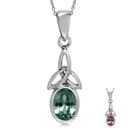 "Simulated Color Change Alexandrite 925 Sterling Silver Triquetra Celtic Knot Pendant w/ 18"" Necklace"