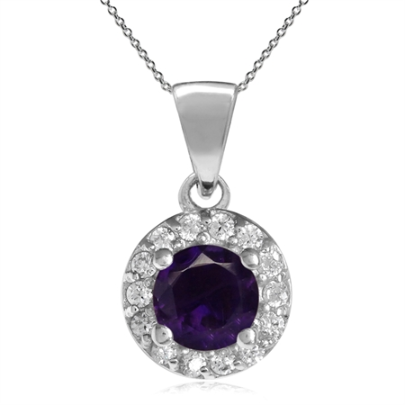 5MM Natural Round Shape African Amethyst 925 Sterling Silver Halo Pendant w/ 18 Inch Chain Necklace
