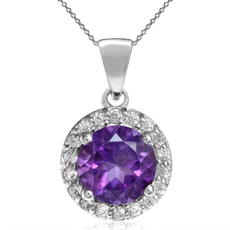"1.19ct. 7MM Natural Round African Amethyst 925 Sterling Silver Halo Pendant w/ 18"" Chain Necklace"