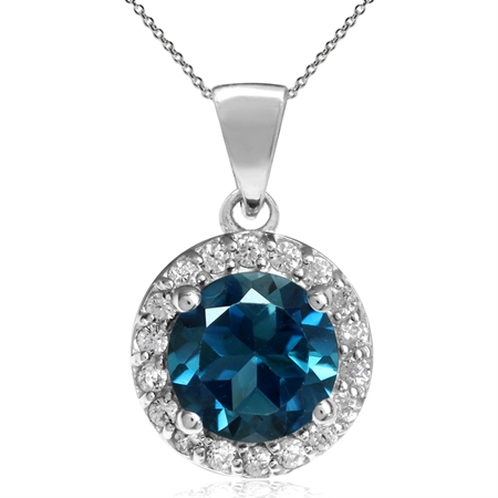 "1.7ct. 7MM Genuine Round London Blue Topaz 925 Sterling Silver Halo Pendant w/ 18"" Chain Necklace"