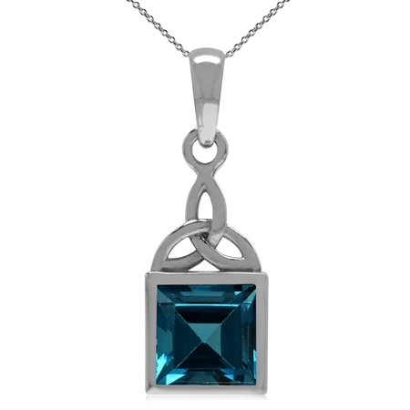 "2.18ct. Genuine London Blue Topaz 925 Sterling Silver Triquetra Celtic Knot Pendant w/ 18"" Necklace"