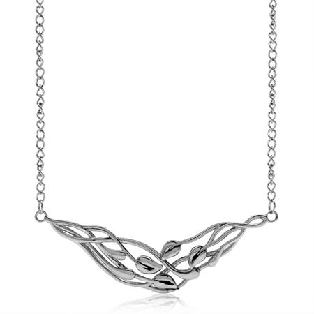 925 Sterling Silver Filigree Leaf Vintage Inspired Pendant w/16-18 Inch Adjustable Chain Necklace