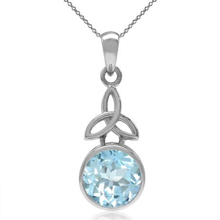 "3.21ct. Genuine Blue Topaz 925 Sterling Silver Triquetra Celtic Knot Pendant w/ 18"" Chain Necklace"