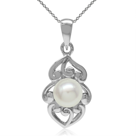 6MM Cultured Freshwater White Pearl 925 Sterling Silver Filigree Pendant w/ 18 Inch Chain Necklace
